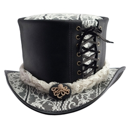 Lace and Leather Top Hat in Black and White