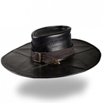 Leather Witch Hunter Hat in Black