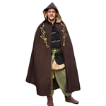 Elven Embroidered Cloak - Brown Twill
