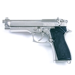 Replica M92 Beretta Automatic Pistol Nickel Non Firing 19-221254N