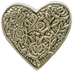 Rose Heart Pewter Button 107.0037