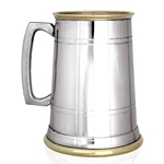 Brass Lip and Base Straight Two Line Pewter Tankard One Pint EP157