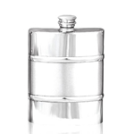 Plain Satin Band Pewter Flask 6 Ounces