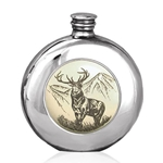 Round Scrimshaw Stag Pewter Flask 6 Ounces