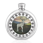 Round Stag Picture Pewter Flask 6 Ounces