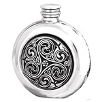 Round Kell Pewter Flask 6 Ounces