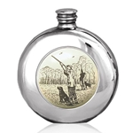 Round Scrimshaw Shooting Pewter Flask 6 Ounces