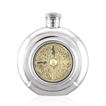 Round Celtic Brass Disc Pewter Flask 6 Ounces