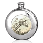 Round Scrimshaw Pheasant Pewter Flask 6 Ounces