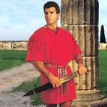 Mens Roman Cotton Tunic in Red - Centurion Legionnaire Soldier 100042