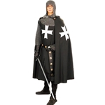 Hooded Hospitaller Cape - Black with White Cross 101601