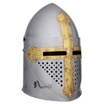 Medieval Pot Helmet with Visor 14 Gauge Large