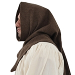 Cowl Style Headwear Brown Wool XL Medieval Hood