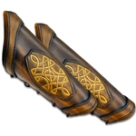 Leather LARP Celtic Padded Arm Bracer in Brown Small