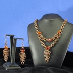 Antique Brass Chainmail Necklace and Earring Set