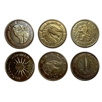 Set of 6 Brass Half-Pennies from 6 Houses