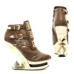 Golden Iceberg Wedge Ankle Boots In Brown