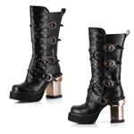 Steampunk Captain Boots In Black