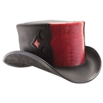 Black and Red Leather Caliber Hat