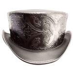 Embossed Leather Top Hat in Black