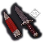 Damascus Knurled Handle Knife with Scabbard
