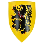 Wooden Medieval Heater Shield - Black Lion Rampant