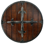 Medieval Round Shield with Cross - Wooden