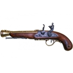 Left-Handed Pirate Flintlock Blunderbuss - Non-Firing Replica - Brass,Pirate Flintlock Pistol Non-Firing