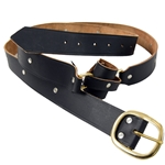 Leather Double Wrap Sword Belt - Black