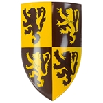 Medieval Heater Shield with Rampant Lions - 18 Gauge Steel