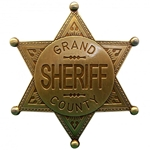 Grand County Sheriff Badge - Brass,Sheriff Badge
