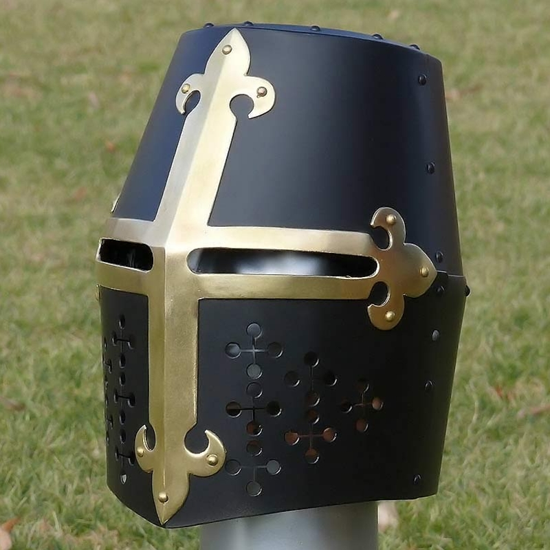 Black Great Helm with Brass Fleur de Lis