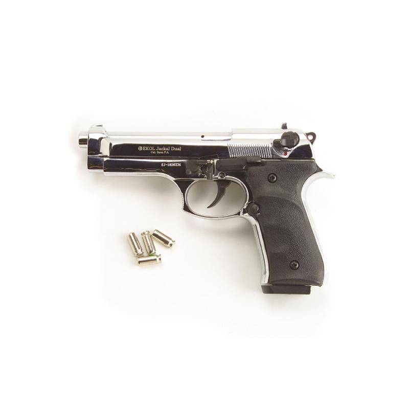 Jackal Fully Automatic Blank Pistol Nickle Finish