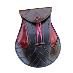 Elven Pouch - Black / Red Leather