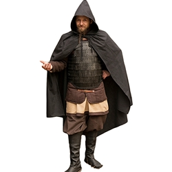 Medieval LARP Cloak - Black Cotton