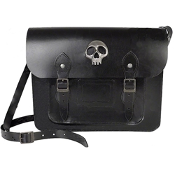 Black Leather Skully Satchel