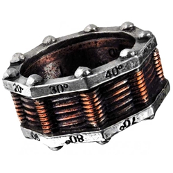 Hi-Voltage Toric Generator Ring Pewter Alchemy R149