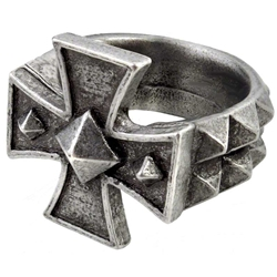 Cross of Iron Ring Pewter Alchemy R196