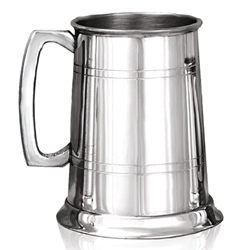 Pewter Tankard One Pint with Straight 2 Lines