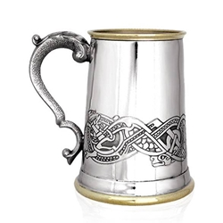 Celtic Scene Brass Lip and Base One Pint Pewter Tankard