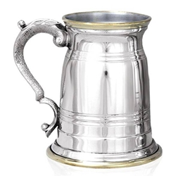 Old London Brass Lip And Base One Pint Pewter Tankard EP025