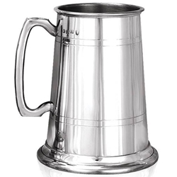 Heavy Gauge Straight Two Lines Two Pint Pewter Tankard