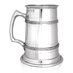 Heavy Gauge Two Celtic Band Tall One Pint Pewter Tankard