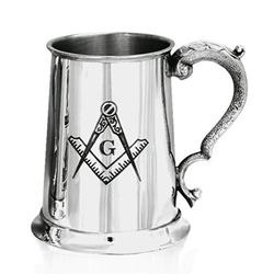 Masonic One Pint Pewter Tankard