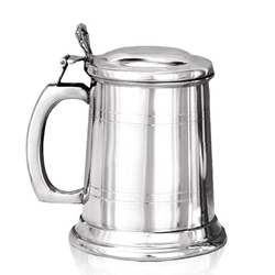 Straight Two Line Lidded Half Pint Pewter Tankard