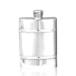 Plain Satin Band Pewter Flask 4 Ounces