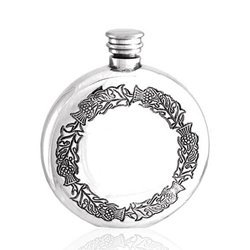 Round Thistle Pewter Flask 6 Ounces