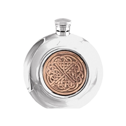 Celtic Rose Pewter Round Flask 6 Ounces