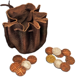 Leather Viking Pouch with Coins