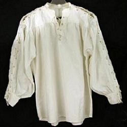 Renaissance Cotton Shirt with Laced Sleeves, Natural, Large